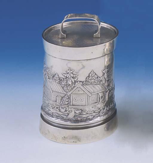 A RUSSIAN SILVER TOBACCO JAR