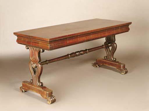 A COLONIAL CEDAR LIBRARY TABLE
