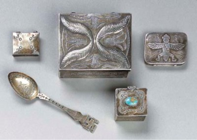 A GROUP OF FIVE NAVAJO SILVER