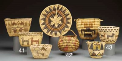 TWO HOPI BUNDLE COILED BASKETS