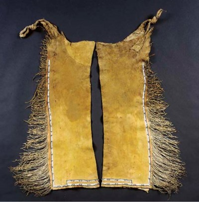 A PAIR OF COMANCHE BEADED HIDE