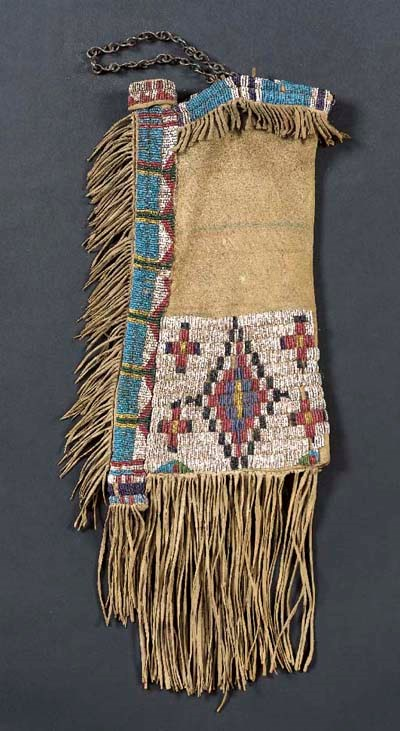 A UTE BEADED HIDE TOBACCO BAG
