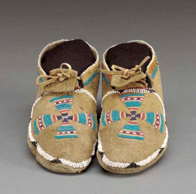 A PAIR OF SHOSHONE BEADED HIDE