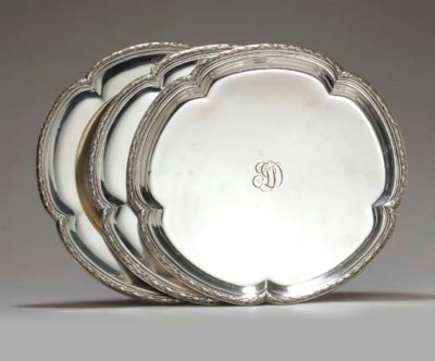 TWO FRENCH SILVER SERVICE PLAT