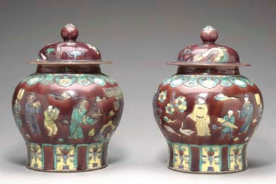 A PAIR OF FAHUA-STYLE JARS AND