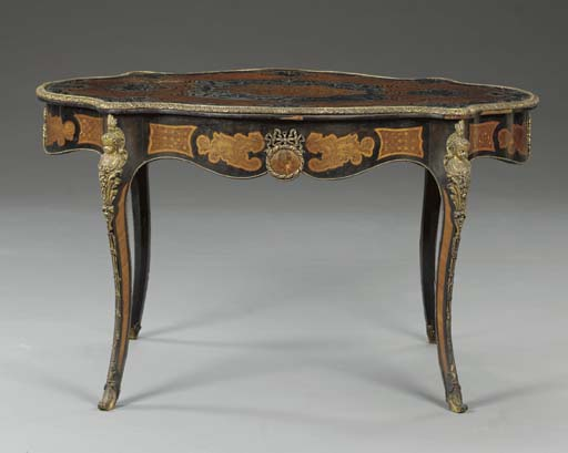 A Napoleon III gilt-metal mounted ebonised and marquetry centre table,