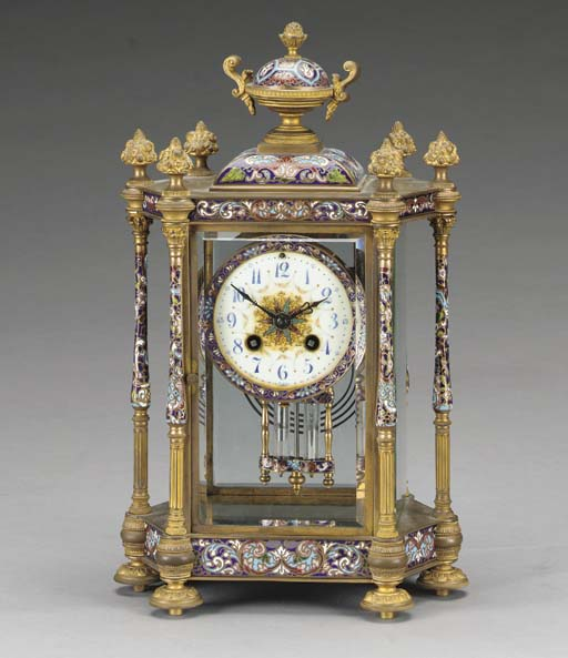 A French ormolu and champleve enamelled mantel clock,