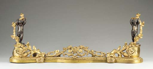 A pair of French ormolu and patinated bronze figural chenets,