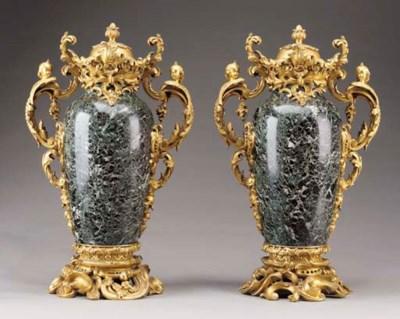 A pair Louis XV style ormolu-m