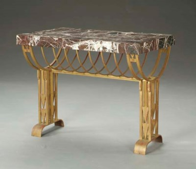A GILT-METAL AND MARBLE CENTER
