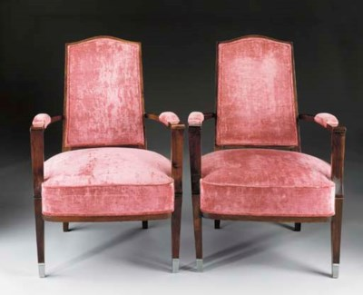 A PAIR OF UPHOLSTERED WALNUT A