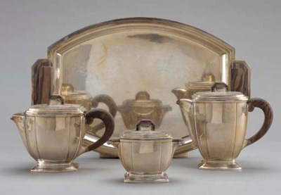AN ART DECO SILVER-PLATED AND