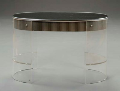 A LUCITE, MIRRORED GLASS AND S