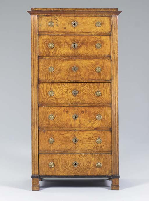 A BIEDERMEIER HUNGARIAN ASH SECRETAIRE-CHEST,