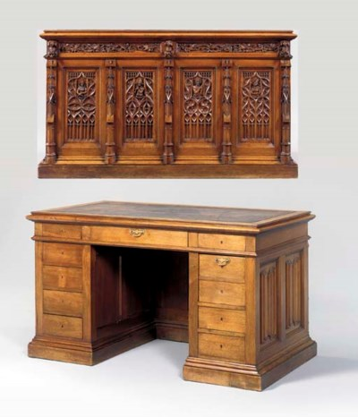 A VICTORIAN WALNUT DESK,