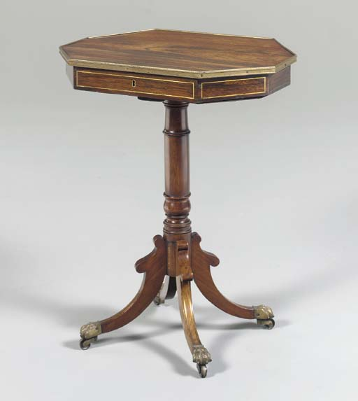 A LATE REGENCY BRASS INLAID ROSEWOOD AND SIMULATED ROSEWOOD OCCASIONAL TABLE,