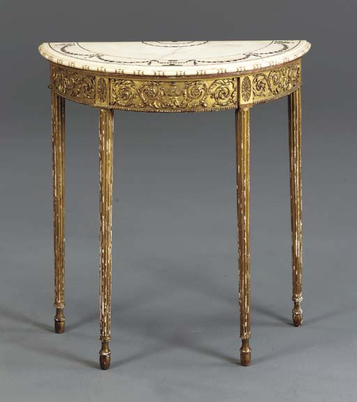 A LATE VICTORIAN GILTWOOD SIDE TABLE,