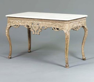 A LOUIS XV GRAY-PAINTED CENTER
