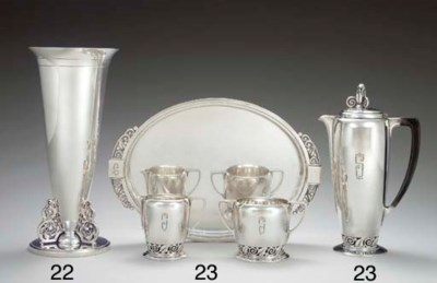 A SILVER COFFEE SERVICE WITH T
