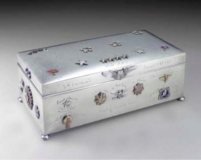A SILVER AND ENAMEL CIGAR BOX