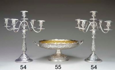 A PAIR OF SILVER FIVE-LIGHT CA