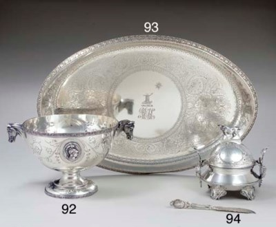 A SILVER BUTTER DISH, COVER AN