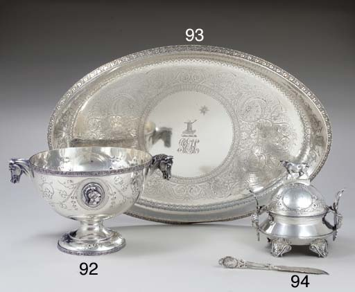 A SILVER BUTTER DISH, COVER AND LINER WITH BUTTER KNIFE
