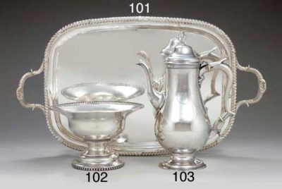 A SILVER TWO-HANDLED TEA TRAY