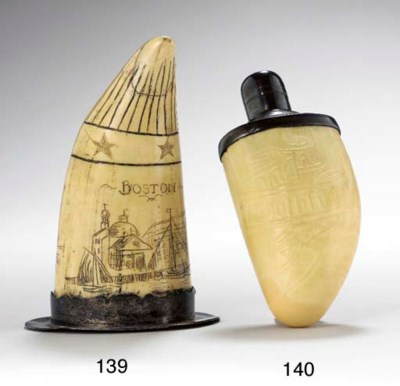 A SCRIMSHAW WHALE TOOTH AND SI
