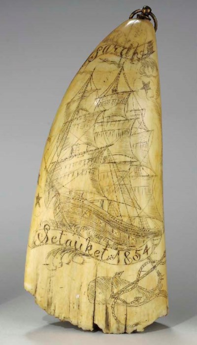 A SCRIMSHAW WHALE TOOTH OF THE