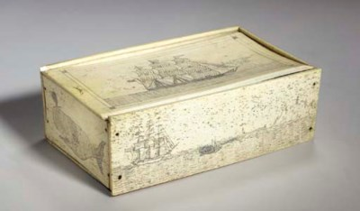 A SCRIMSHAW PANBONE DITTY BOX