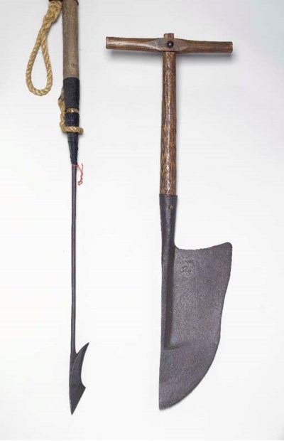 A LARGE IRON AND WOOD HARPOON