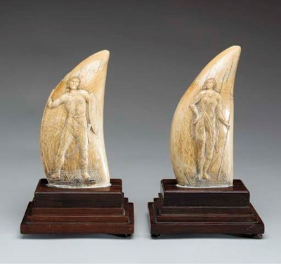 A PAIR OF RELIEF CARVED AND EN