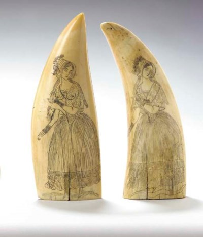 TWO SIMILAR ENGRAVED SCRIMSHAW