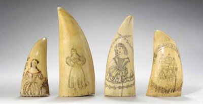 A GROUP OF FOUR SCRIMSHAW WHAL