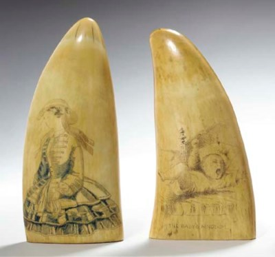 TWO ENGRAVED SCRIMSHAW WHALE T