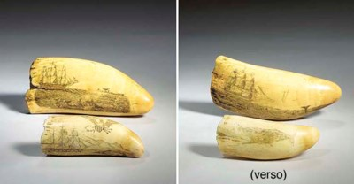 A LARGE SCRIMSHAW WHALE TOOTH