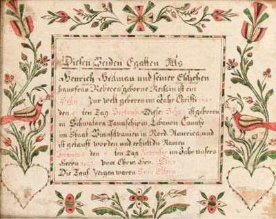 PENNSYLVANIA SCHOOL, dated 182