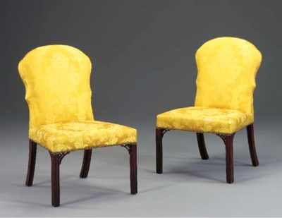 A PAIR OF CHIPPENDALE UPHOLSTE