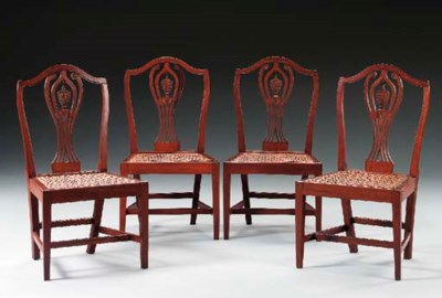 A SET OF FOUR FEDERAL CARVED M