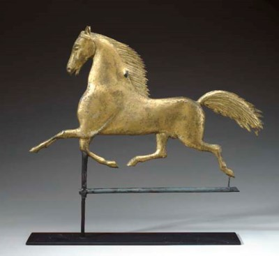 A MOLDED COPPER RUNNING HORSE
