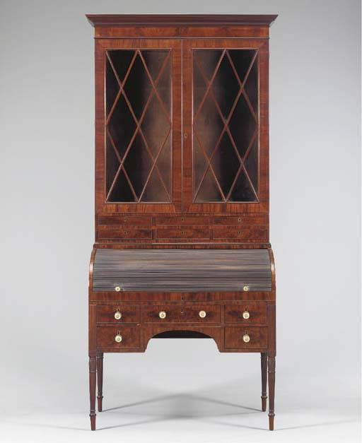 A Federal Mahogany Cylinder Desk-and-Bookcase
