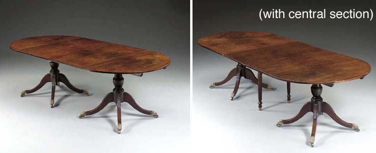 A Federal Carved Mahogany Two-Pedestal Dining Table