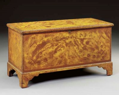 A GRAIN-PAINTED BLANKET CHEST
