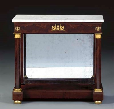 A CLASSICAL MAHOGANY MARBLE TO