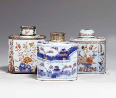 THREE CHINESE IMARI TEA CADDIE