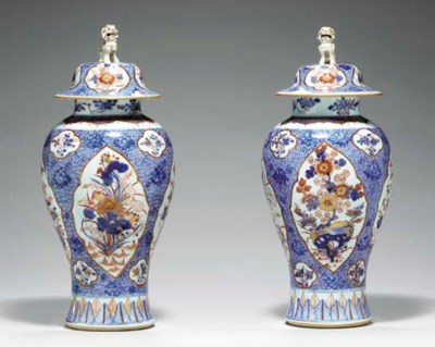 A LARGE PAIR OF BALUSTER VASES
