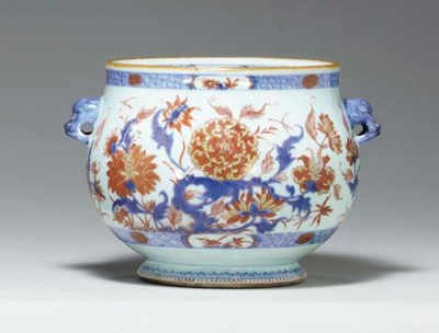 A CHINESE IMARI TWO-HANDLED BO