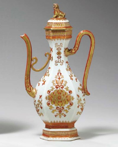 A LARGE IRON-RED AND GILT EWER