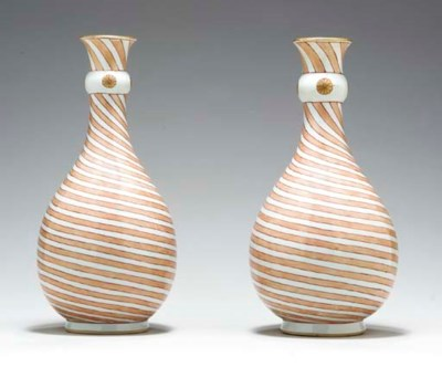 A PAIR OF STRIPED IRON-RED AND